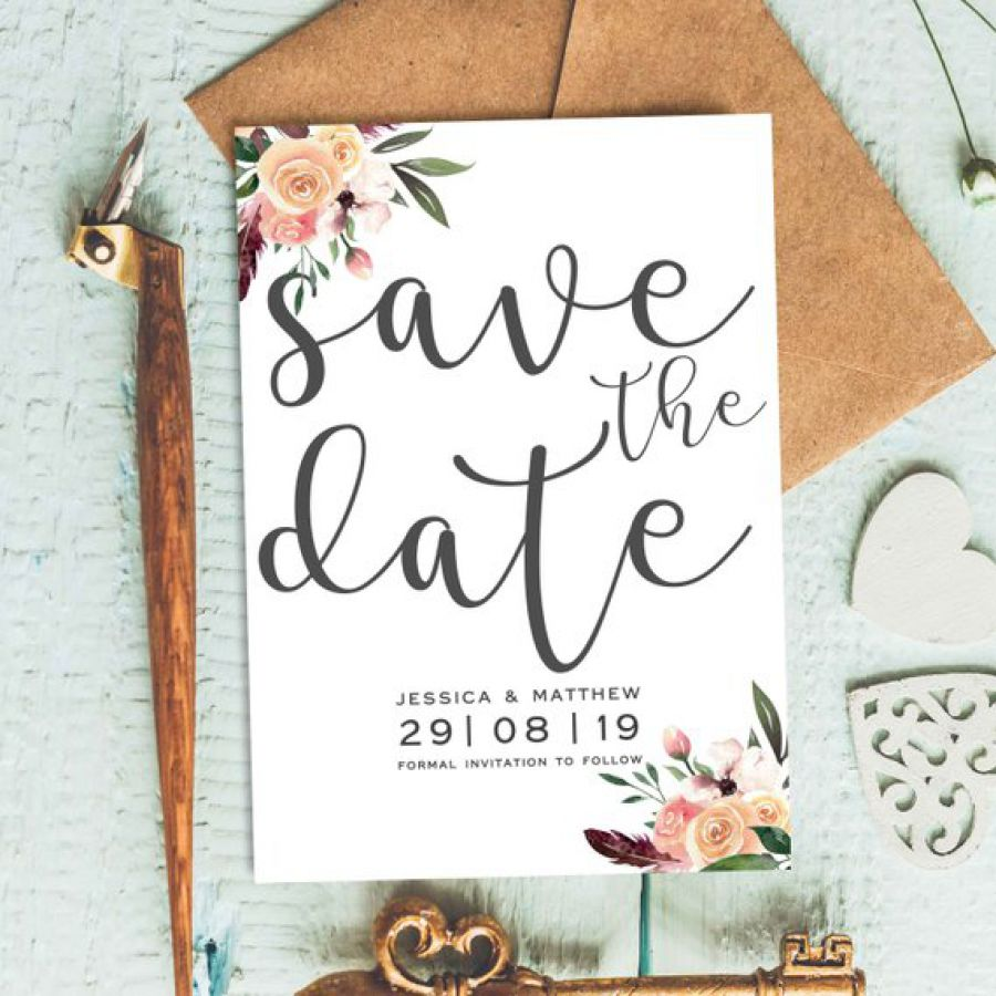 Floral Save The Date,Engagement Card, Country Wedding Save The Date Card | Indian wedding cards, Indian wedding card, wedding cards, wedding invitations, Indian wedding invitations