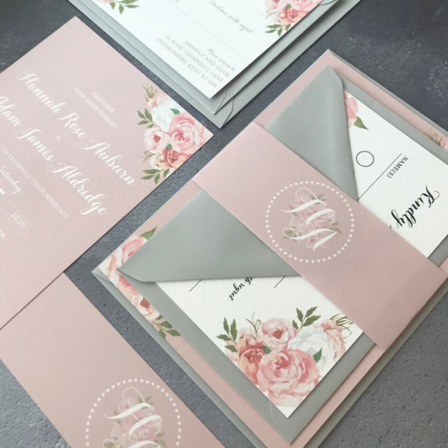 Wedding Invitation - Pink Floral Wedding Invitations with matching RSVP, flower belly band and envel | Indian wedding cards, Indian wedding card, wedding cards, wedding invitations, Indian wedding invitations