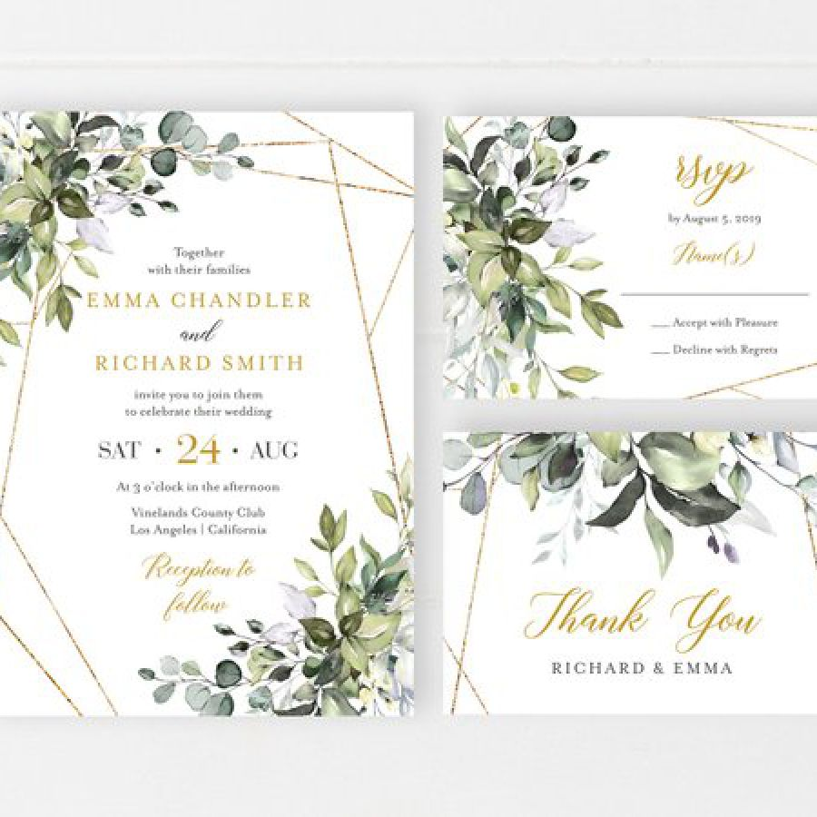 Botanical Geometric Printable Wedding Invitation Suite, Greenery Gold Boho Wedding Invite, Foliage R | Indian wedding cards, Indian wedding card, wedding cards, wedding invitations, Indian wedding invitations