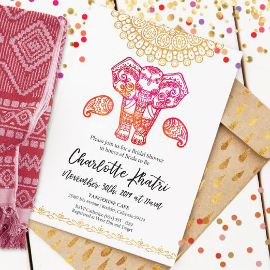India Elephant Bridal Shower Invitation | Custom Shower Invite | Editable Bridal Shower Invitation | | Indian wedding cards, Indian wedding card, wedding cards, wedding invitations, Indian wedding invitations
