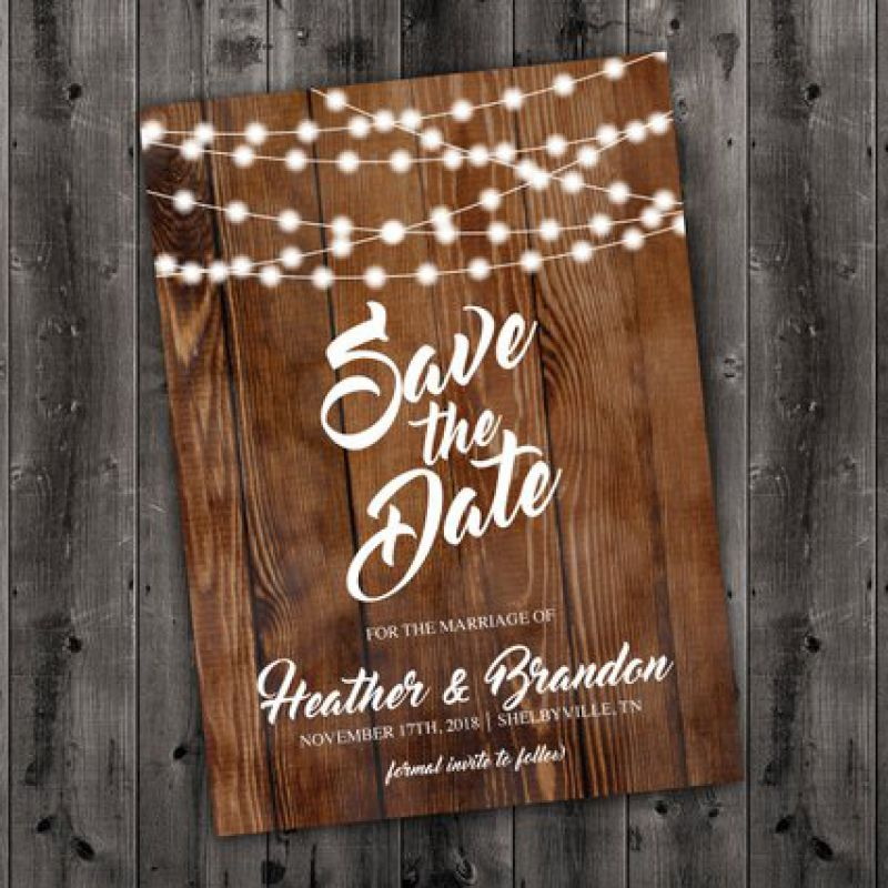 Save the Date Cards, Save The Date Postcard, Lights, Wood, Country Save the Date, Engagement Card, C