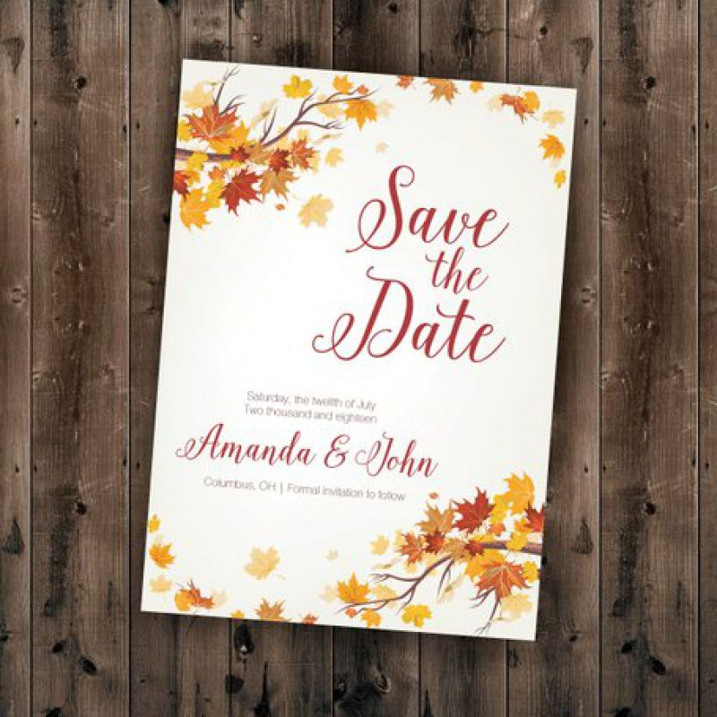 Autumn Save the Date Cards, Fall Save the Date Postcards, Leaves Wedding Invitations