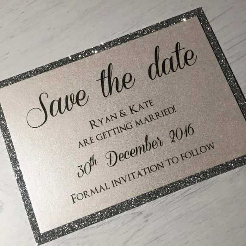 Glitter Wedding Save the Date / Silver Glitter Save the Date