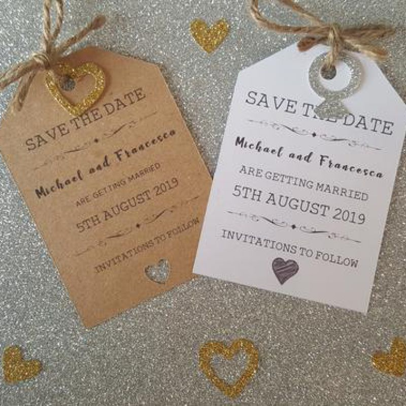 Wedding save the date personalised ceremony cards, rustic, tags, magnet, bespoke, save the dates, we