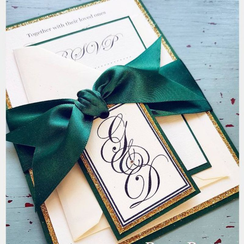 GOLD Glitter Emerald Green Personalised Wedding Invitations With