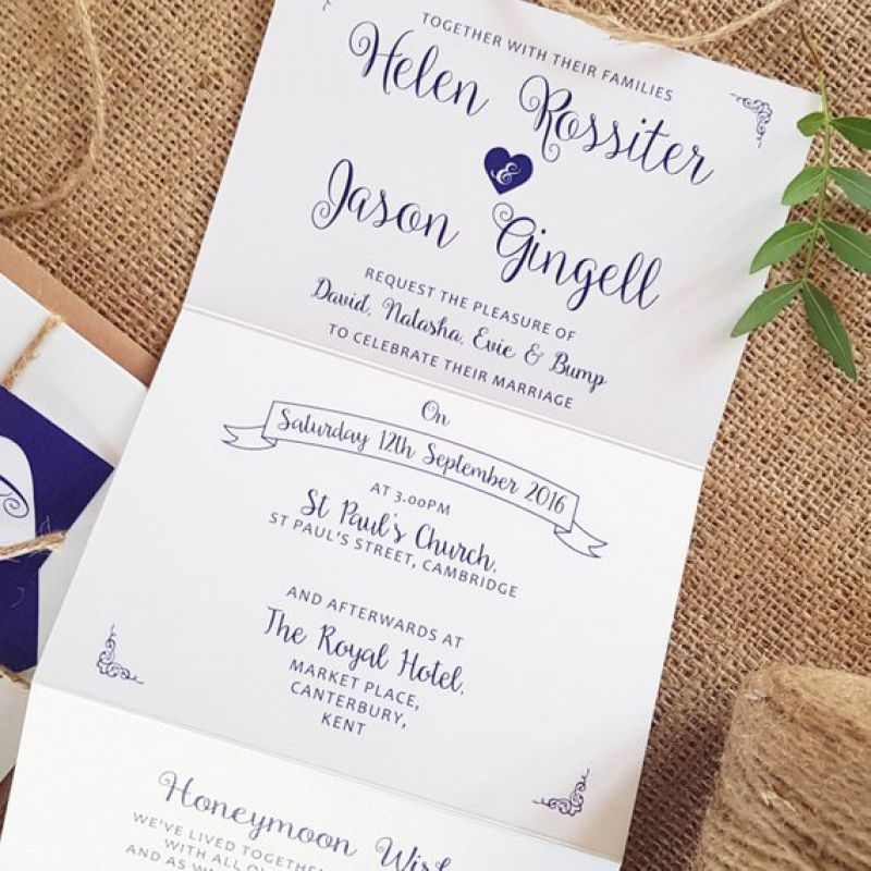 Personalised Wedding Invitations Accordion style Blue Heart