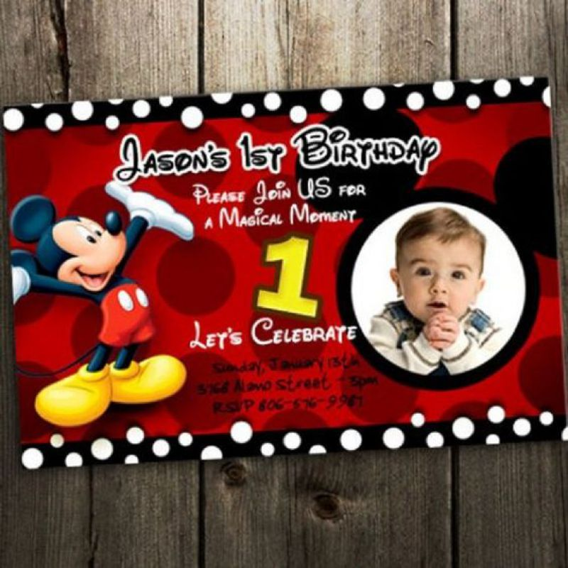 Mickey Mouse Birthday Invitation: Printable Boy or Girl Custom Invite
