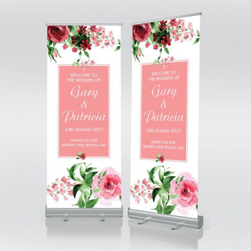 Floral Wedding Roll Up Banner